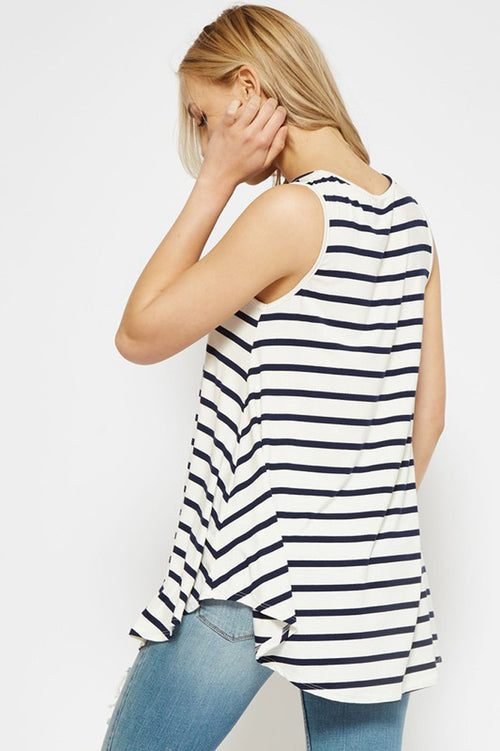 Sharon Stripe Tank Top : Ivory/Navy