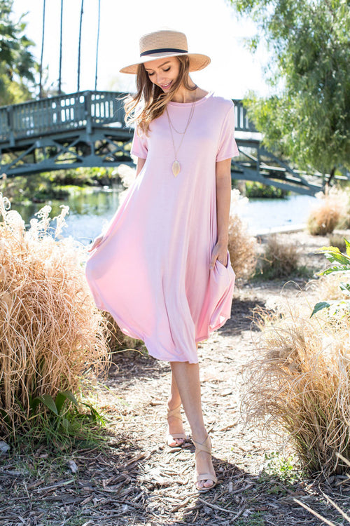 Hannah Basic Midi Dress : Dusty Pink