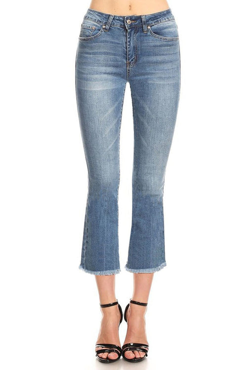 Cropped Boots Cut Jeans : Medium light blue