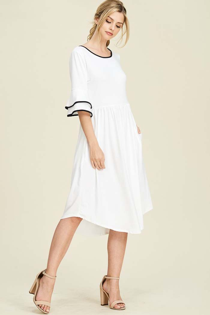 Jessica Bell Sleeve Dress : Ivory