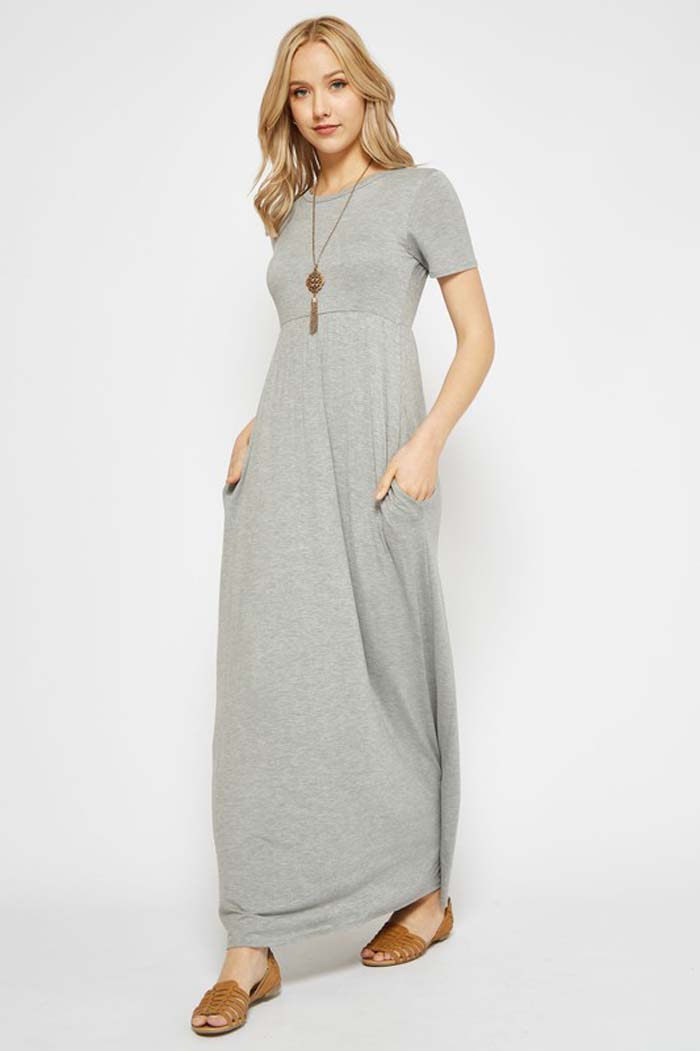 Solid Daily Maxi Dress Plus : Heather Grey