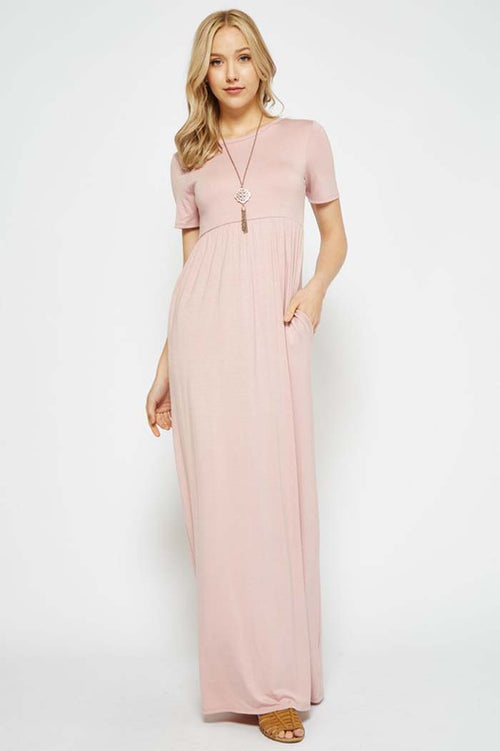 Solid Daily Maxi Dress : Dusty Pink