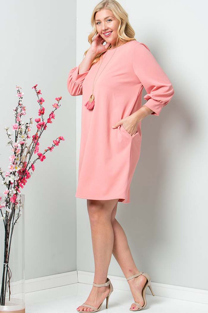 Miranda Puff Sleeve Dress Plus : Blush
