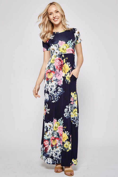 Hidden Pocket Floral Dress : Navy