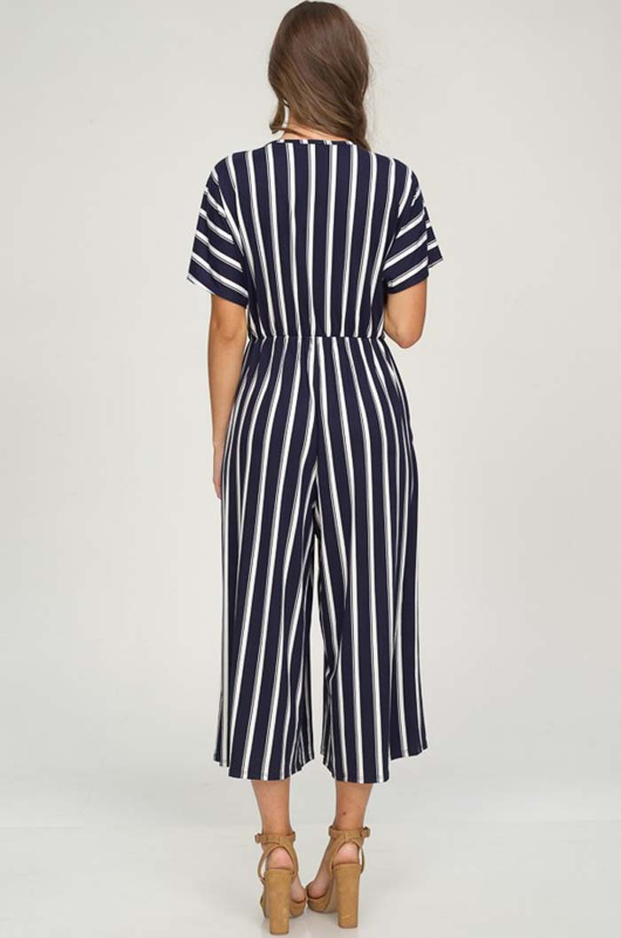 Hannah Surplice Neck Jumpsuits : Navy