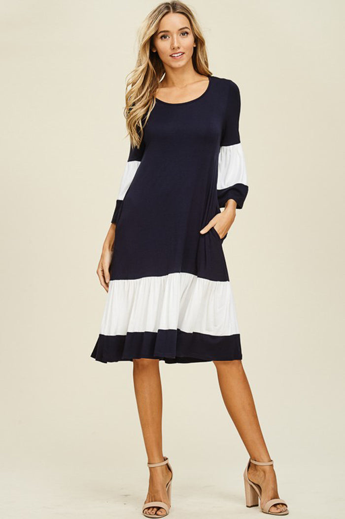 Ellie Color Block Dress : Navy/Off White