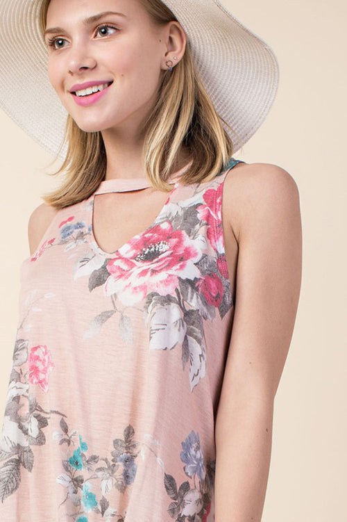 Harlie Floral Sleeveless Top : Blush