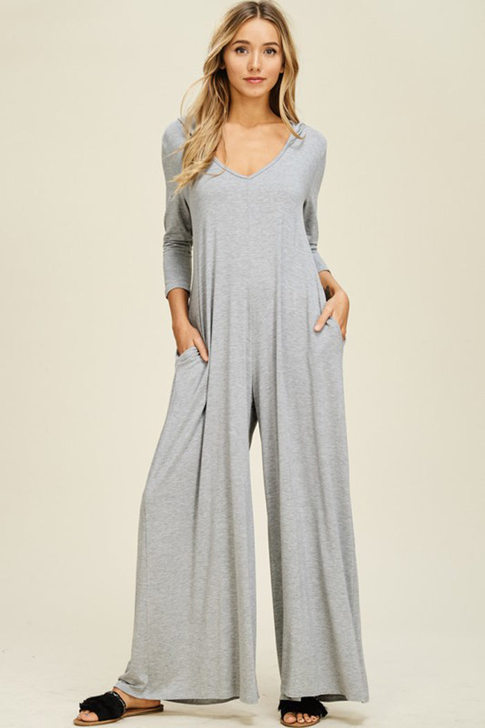 Claire V-neck Hoodie Jumpsuits : Heather grey