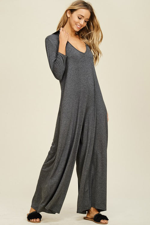 Claire V-neck Hoodie Jumpsuits : Mid Grey