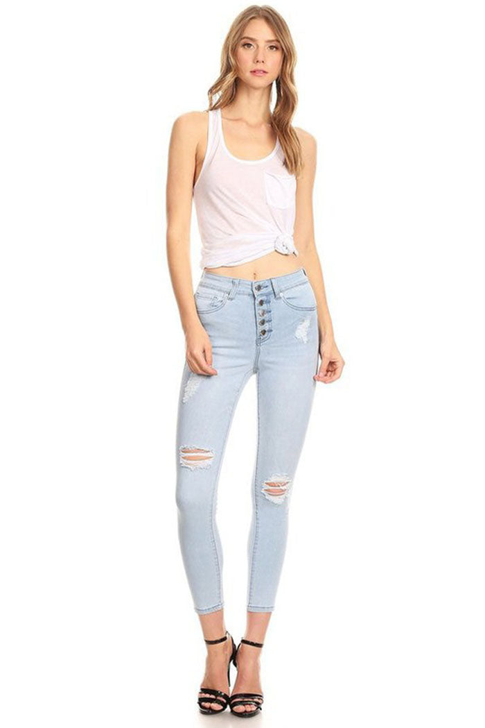 Amy High Rise Skinny Jeans : Light Blue