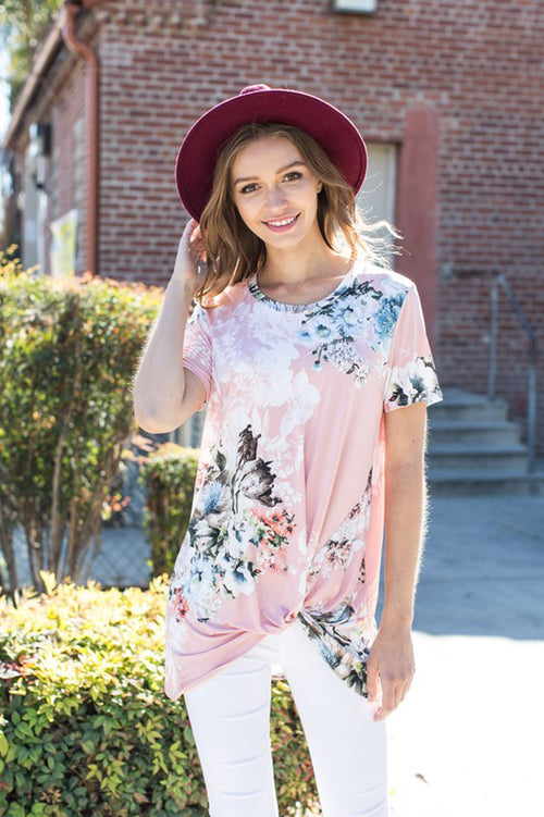 Casual Knotted Floral Top