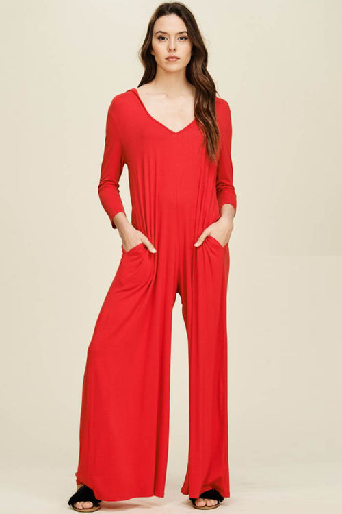 Claire V-neck Hoodie Jumpsuits : Red