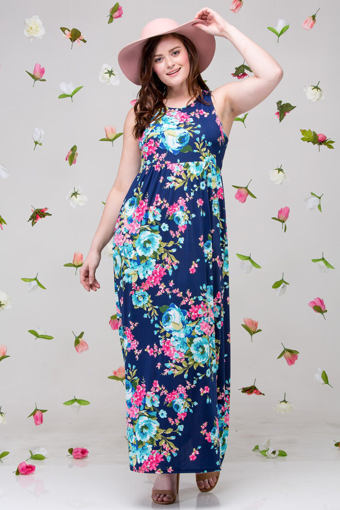 Floral Racerback Maxi Dress Plus : Navy