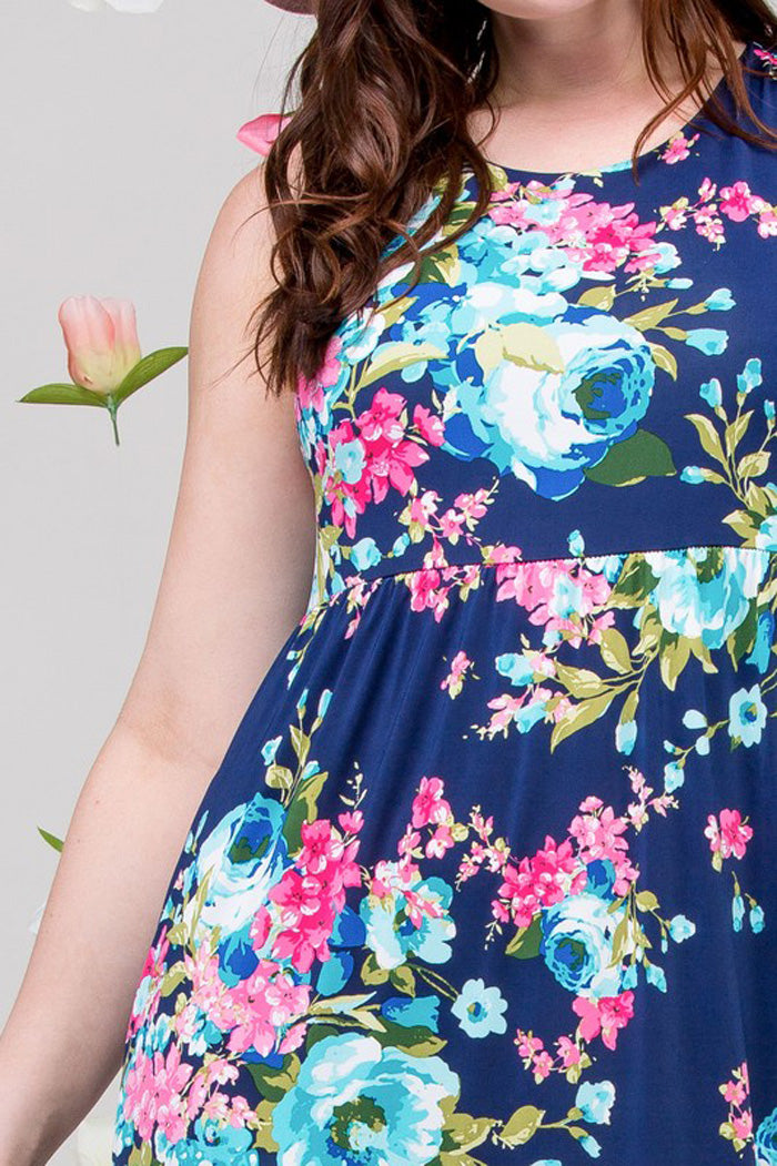 Floral Racerback Maxi Dress : Navy