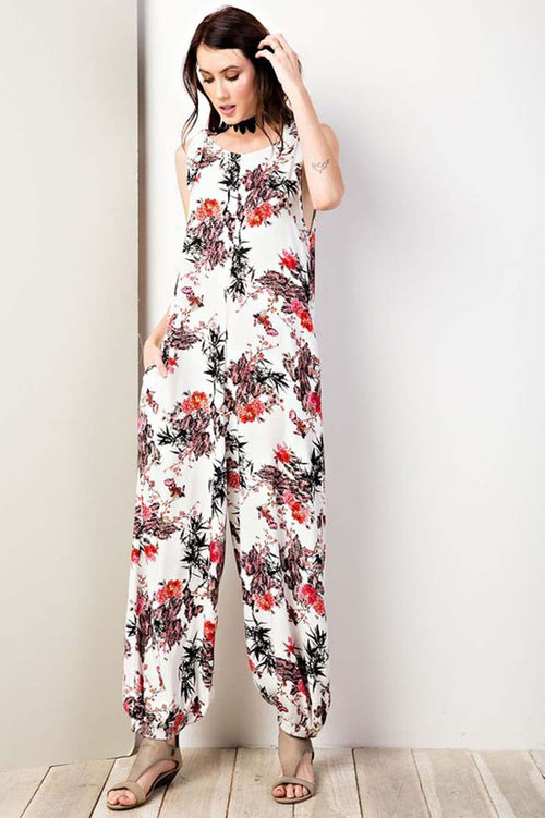 Alice Low Back Jumpsuits : Sunset Red