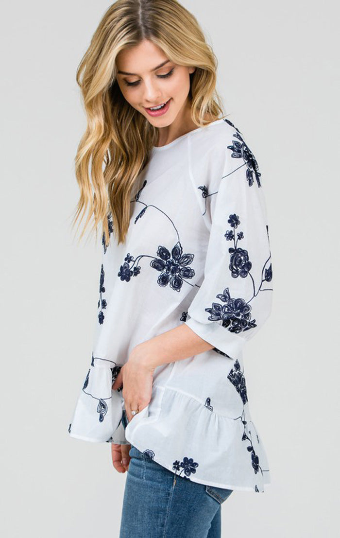 Nina Floral Tunic Top : Navy