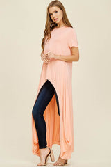 Abbey Hi-lo Tunic Top : Peach