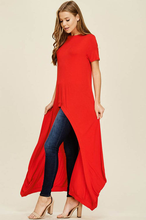 Abbey Hi-lo Tunic Top : Poppy Red