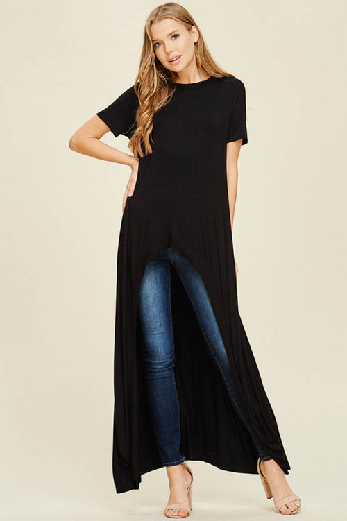 Abbey Hi-lo Tunic Top : Black