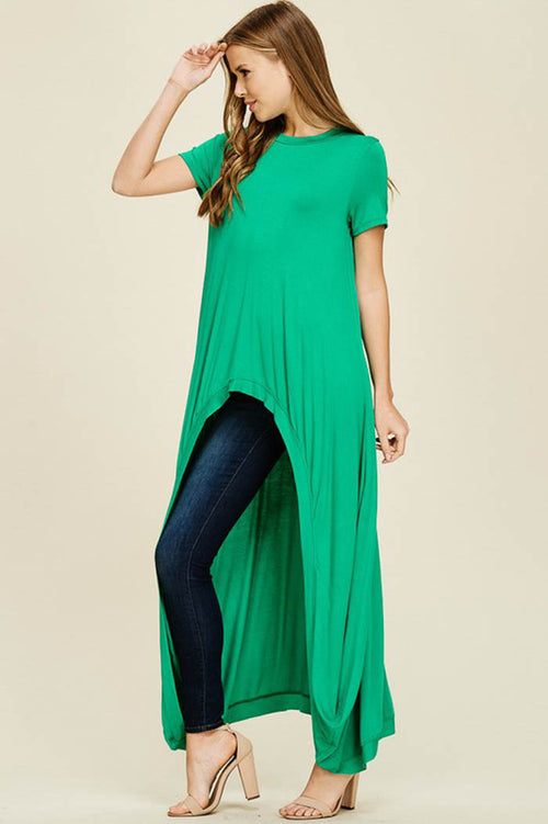 Abbey Hi-lo Tunic Top : Kelly Green