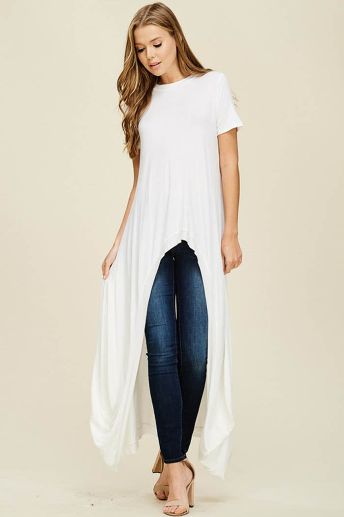 Abbey Hi-lo Tunic Top : Off White