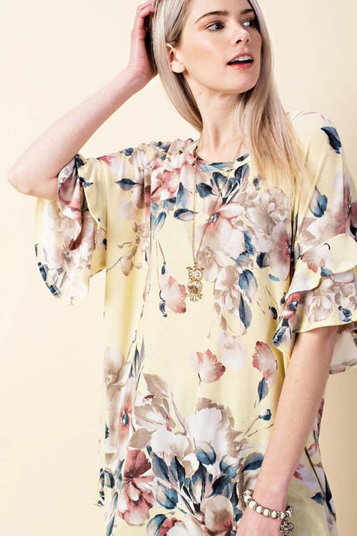 Sunny Floral Ruffled Tunic : Yellow