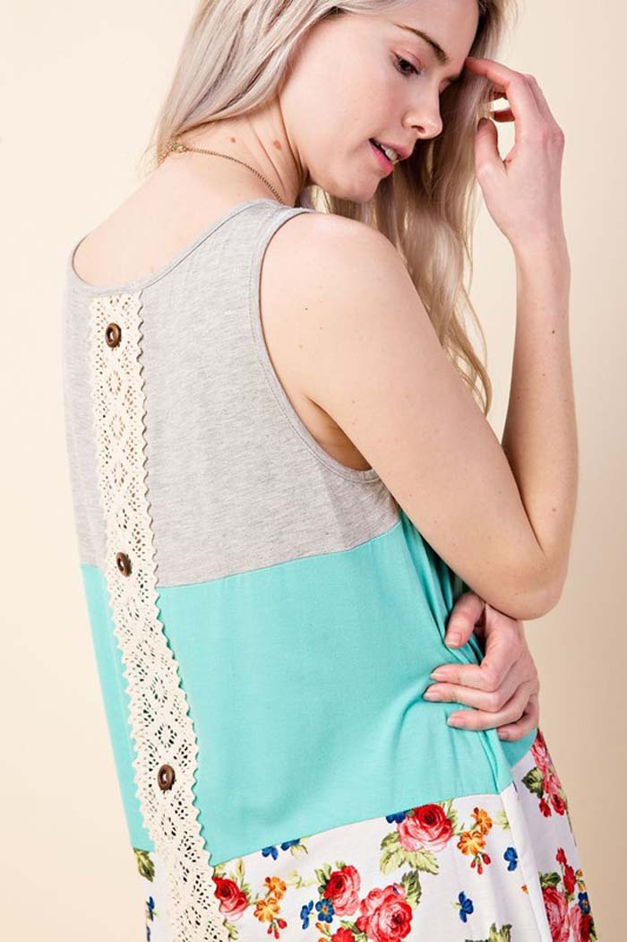 Brittany Placket Back Tunic : Mint