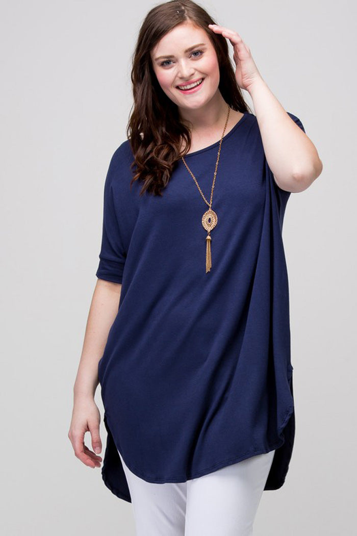 Leah Piko Tunic Top : Navy