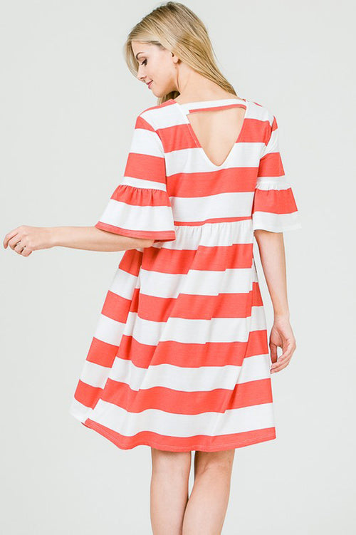 Peyton Stripe Loose Dress : Tomato Red