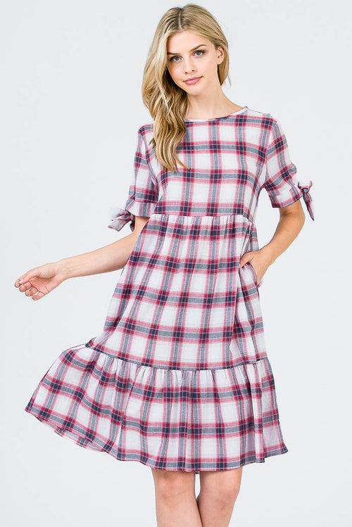 Sarah Plaid Layered Dress : Red