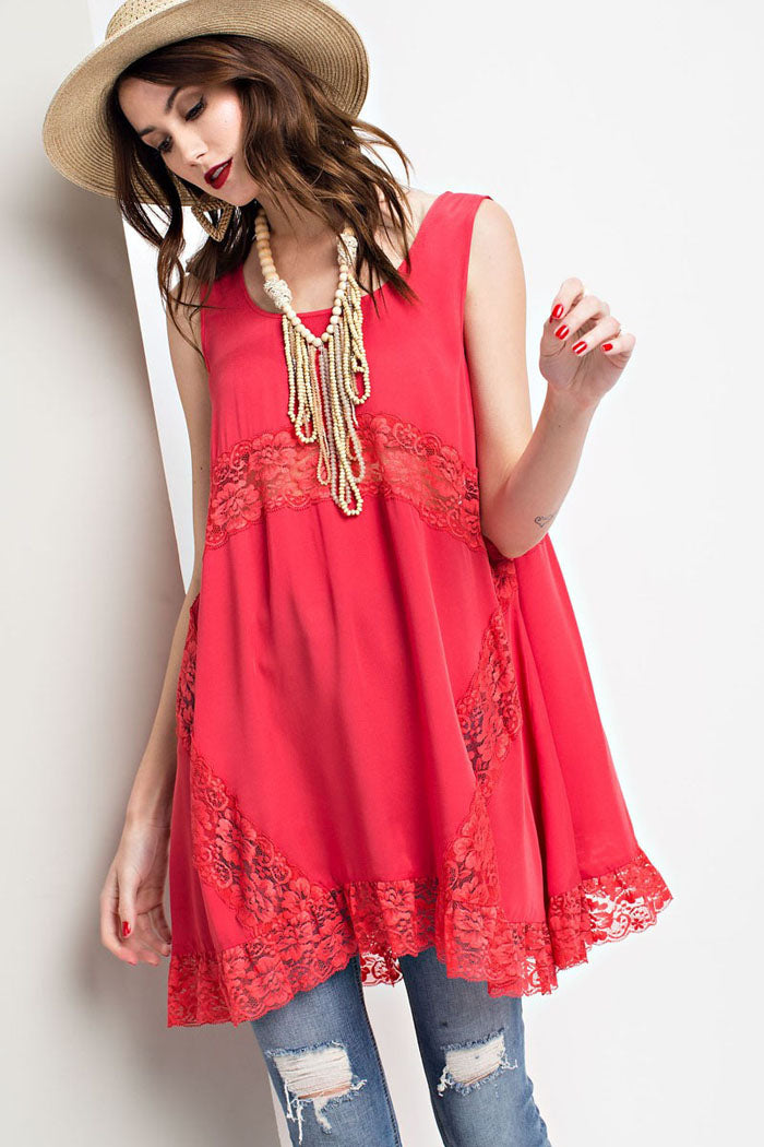 Norah Flyaway Tunic Top : Vintage Red
