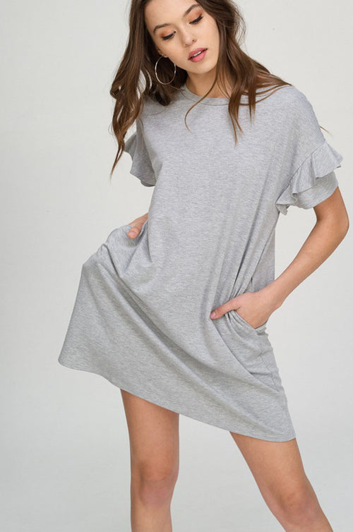 Angie Ruffle Midi Dress : Heather Grey