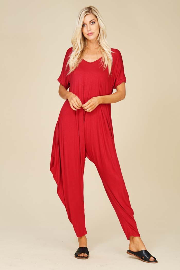 Sofia Harem Jumpsuits : Dark Red