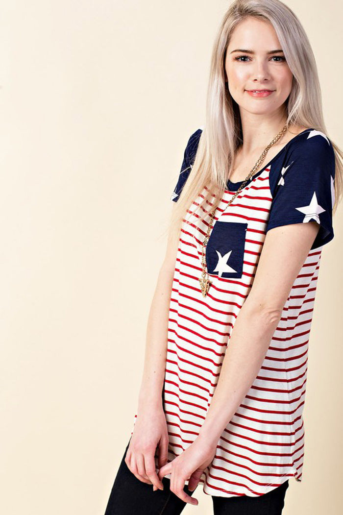 Flag Casual Top : Red Star