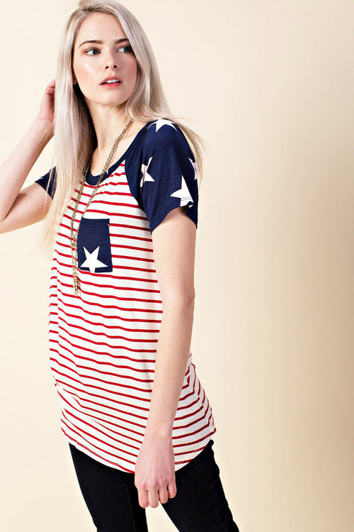 Flag Casual Top : Navy Star