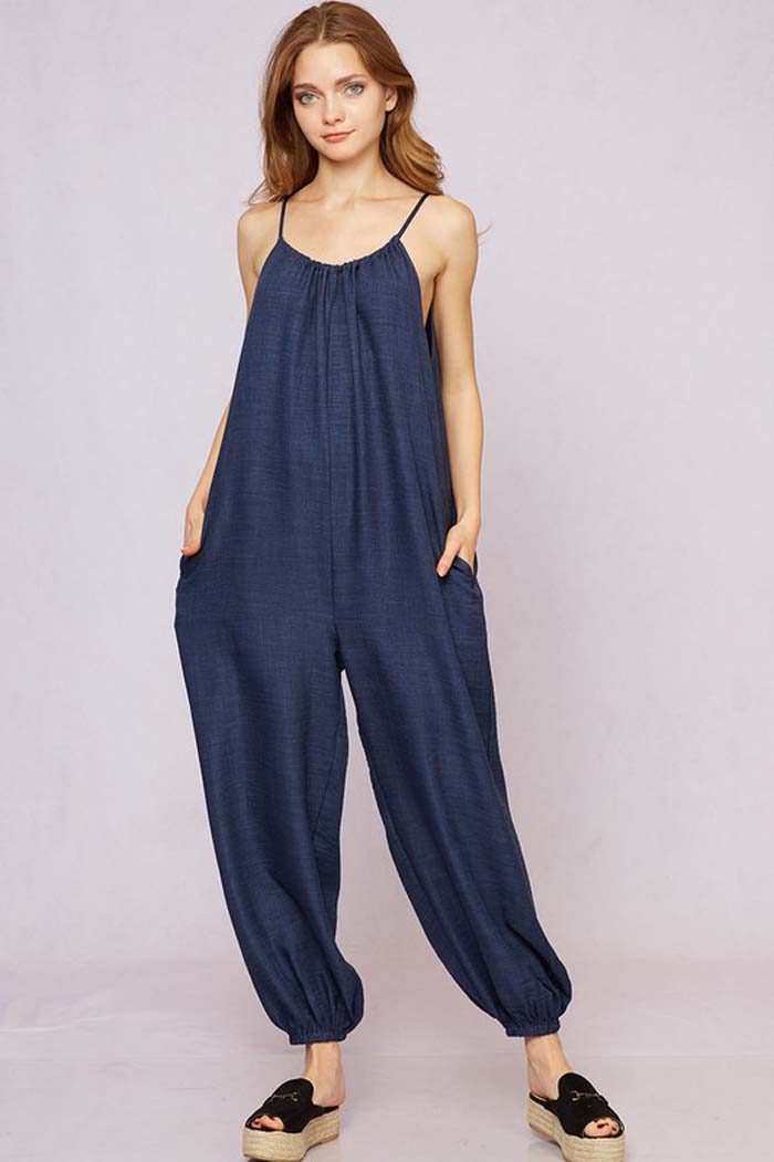 Anne Linen Jumpsuits : Navy