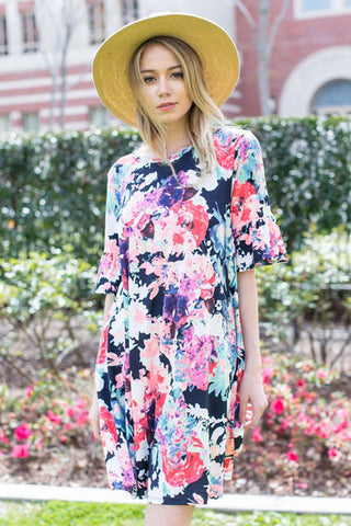 Ashley Floral Midi Dress : Cream