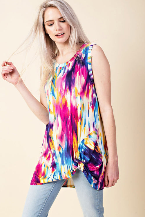 Catherine Colorful Sleeveless Top : Multi