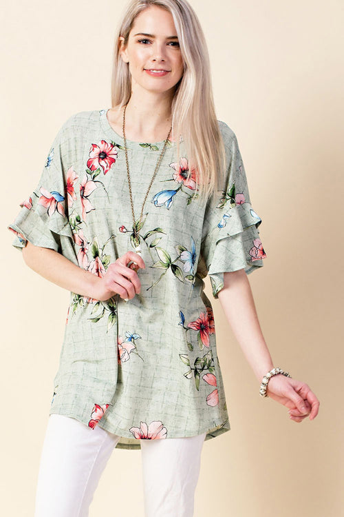 Harriet Ruffle Sleeve Tunic : Mint