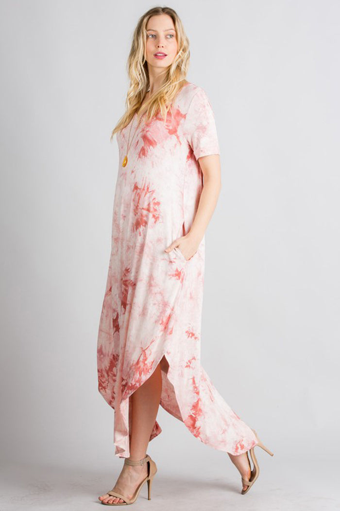 Alexa Tie Dye Maxi Dress : Mauve