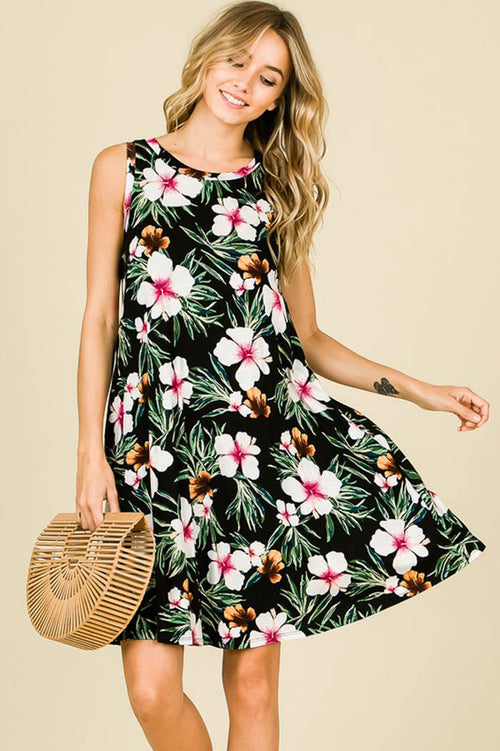 Sandy Floral Swing Dress : Black