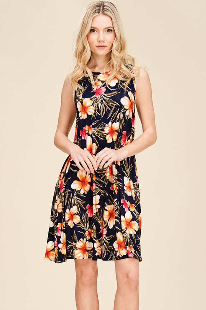 Sandy Floral Swing Dress : Navy