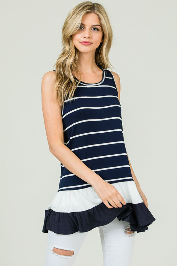 Julia Stripe Ruffle Tunic : Navy/Ivory