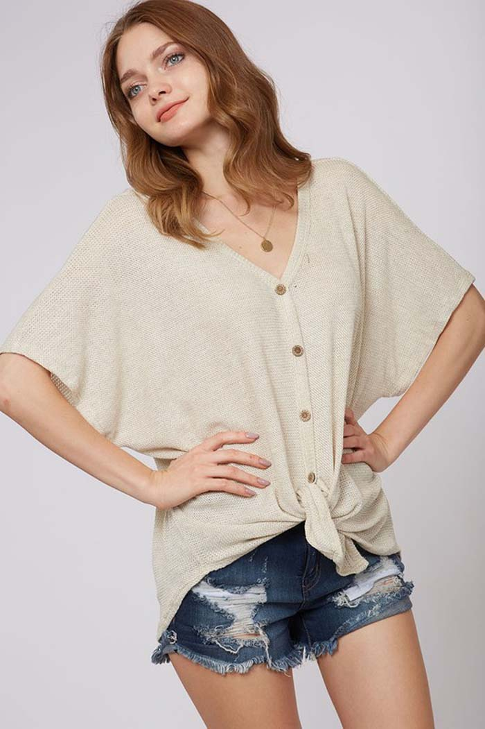 Katie Button Down Sweater : Charcoal