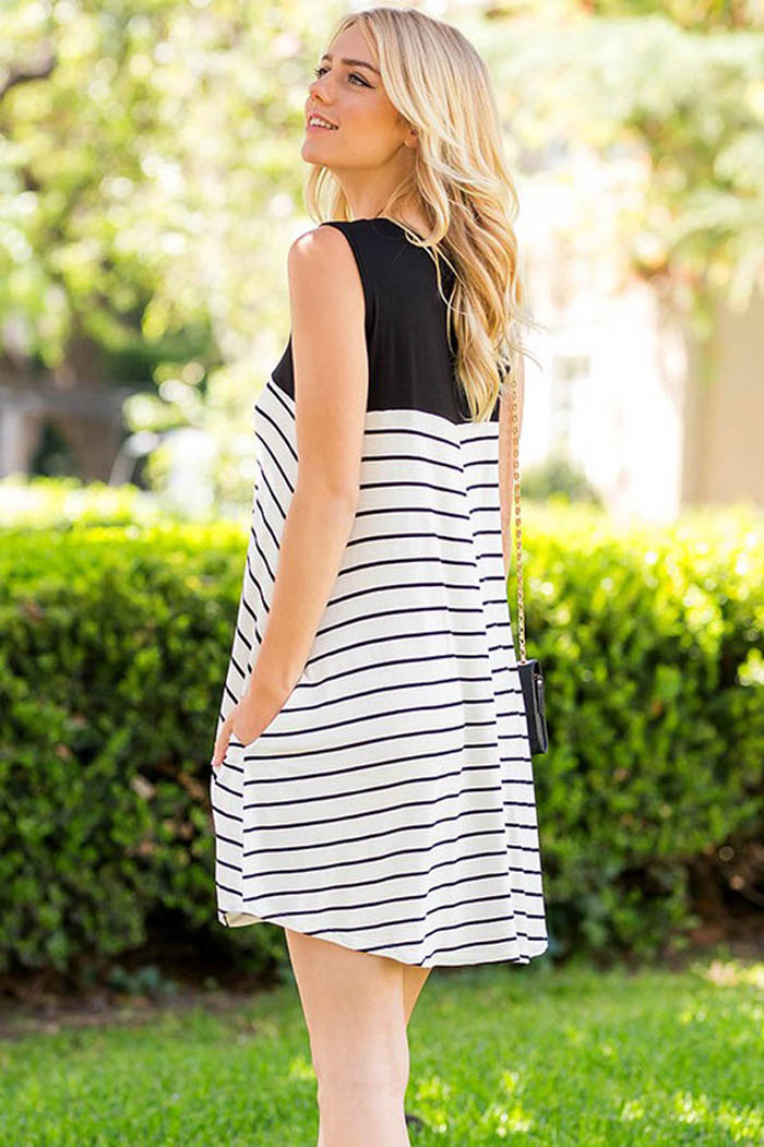 Stripe Color Block Dress : Black