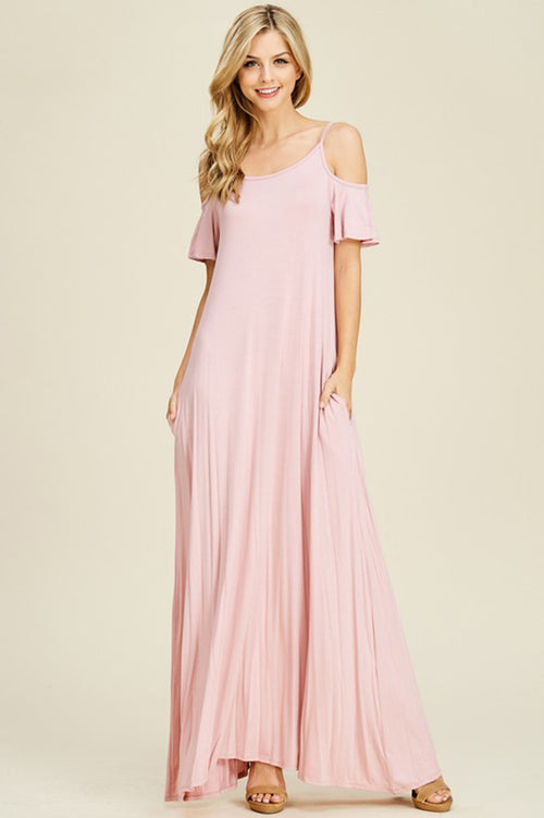 Parker Cold Shoulder Maxi Dress : Rose