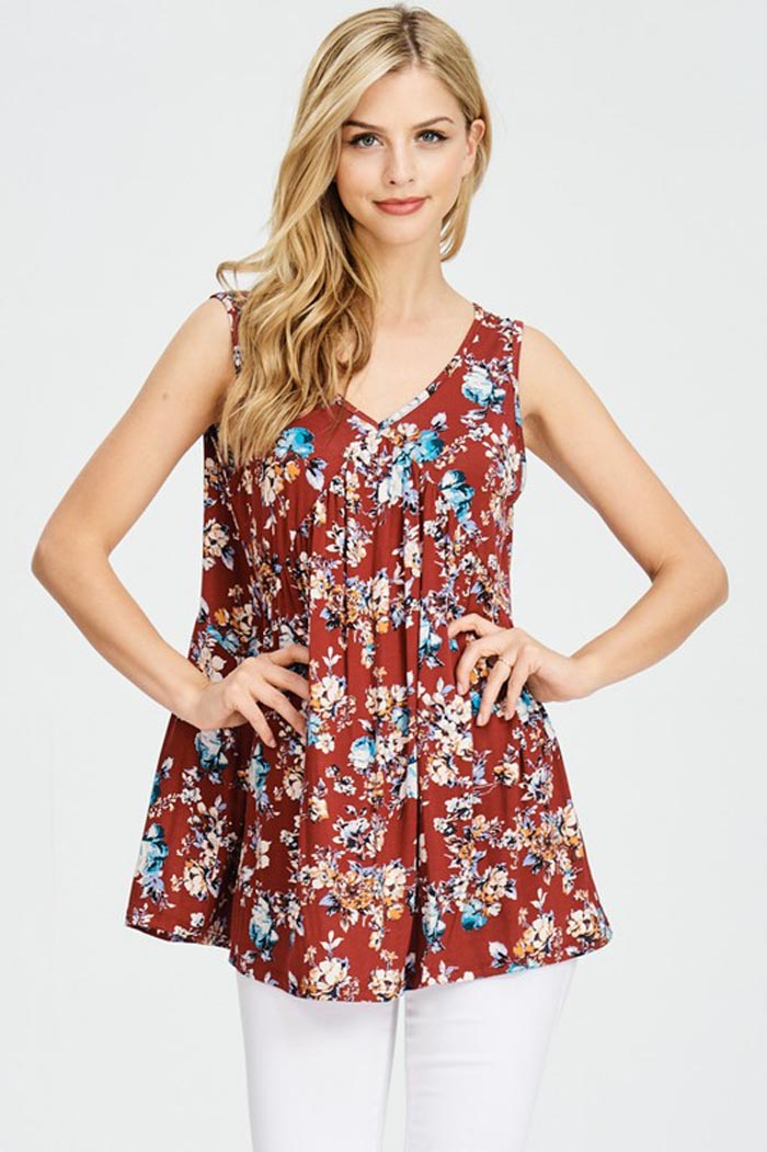 Rosa Floral Sleeveless Top : Navy