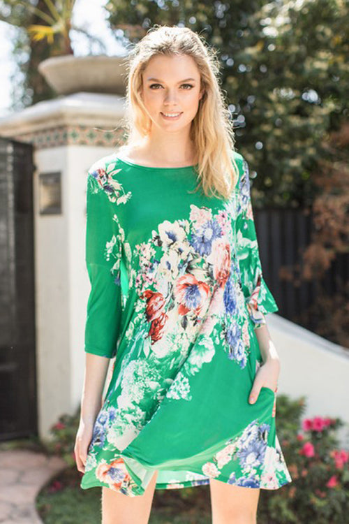 Anna Floral Swing Dress : Kelly Green