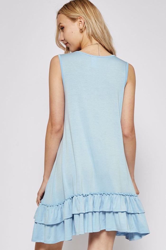 Rhyla Ruffle Hem Dress : Aqua