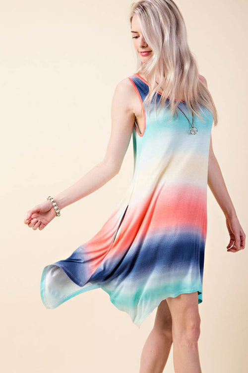 Liliana Rainbow Print Dress : Blue